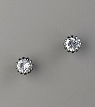 Betsey Johnson® Round Czech Crystal Stud Earrings - Hematite