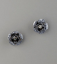 Betsey Johnson® Glitter & Crystal Flower Stud Earrings - Hematite