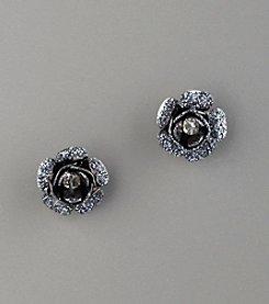 Betsey Johnson® Glitter & Crystal Flower Stud Earrings - Hematite