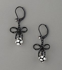 Betsey Johnson® Bow & Fireball Drop Earrings - Black/Clear