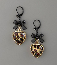 Betsey Johnson® Bow & Heart Drop Earrings - Leopard Print/Black