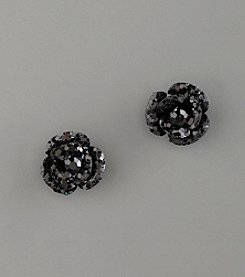 Betsey Johnson® Glitter & Crystal Flower Stud Earrings - Black