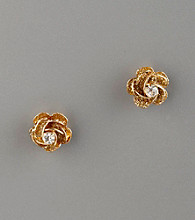 Betsey Johnson® Glitter & Crystal Flower Stud Earrings - Goldtone