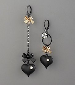 Betsey Johnson® Mismatch, Crystal Accented Linear Drop Earrings - Black/Gold