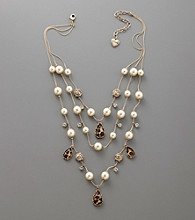 Betsey Johnson® Pearl & Teardrop Illusion Necklace - Goldtone