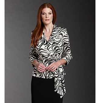 Alex Evenings® Printed Chiffon Side-Tie Blouse - Black/White