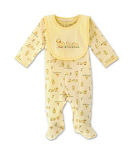 Little Me Neutral Yellow Duck Footie