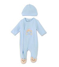 Little Me Baby Boys' Teddy Bear Footie - Blue