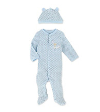 Little Me Baby Boys' Blue Brown Dot Footie