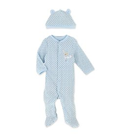 Little Me® Baby Boys' Blue Brown Dot Footie