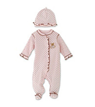 Little Me Baby Girls' Pink and Brown Dot Footie