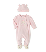 Little Me Baby Girls' Teddy Bear Footie - Pink