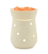 Candle Warmers Etc. Round Illumination Fragrance Warmer Combo with Citrus Wax Melts - Cream Emboss/Orange