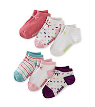 PUMA® Girls' 6 Pack Runner Socks - Hearts/Stripes and Polka Dots