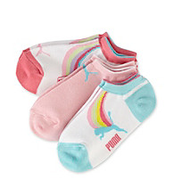 PUMA® Girls' 3 Pack Runner Socks - Rainbow