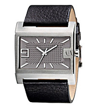 A|X Armani Exchange Men's Black Leather Cuff Watch