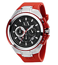 A|X Armani Exchange Men's Red Silicone & Stainless Steel Watch