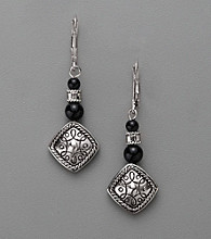 Napier® Antiqued Silvertone and Jet Bead Drop Earrings