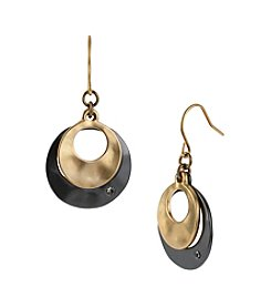 Kenneth Cole® Drop Hoop Earrings - Goldtone/Hematite