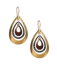 Kenneth Cole® Tri-Tone Orbital Teardrop Hoop Earrings