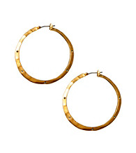 Kenneth Cole® Matte Goldtone Hammered Hoop Earrings with Stone Detail
