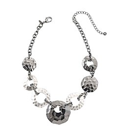 Laura Ashley® Two Tone Hammered Disk Necklace