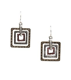 Laura Ashley® Metallic Orbital Square Pendant Drop Earrings