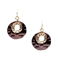 Laura Ashley® Layered Disc Drop Earrings - Chocolate/Goldtone