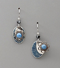 Silver Forest® Lapis Stone and Silvertone Filigree Earrings