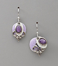 Silver Forest® Four-Layer Purple Jade Stone and Silvertone Earrings