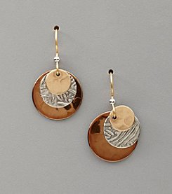 Silver Forest® Three-Layer Tri-Tone Disc Earrings
