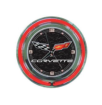 Trademark Officially Licensed Corvette® C6 Black Neon Clock