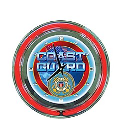 Trademark Officially Licensed United States Coast Guard Blue Neon Clock