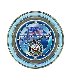 Trademark Officially Licensed United States Navy Blue Neon Clock