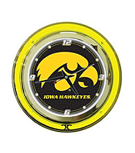 Officially Licensed University of Iowa Black Neon Clock
