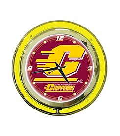 NCAA® Central Michigan University Red Neon Clock