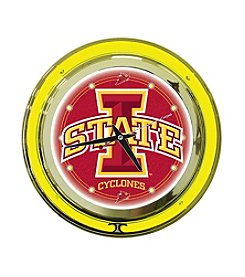 NCAA® Iowa State Red Neon Clock