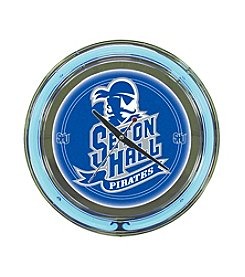 NCAA® Seton Hall University Blue Neon Clock