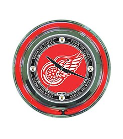 NHL® Detroit Red Wings Officially Licensed Vintage Red Neon Clock