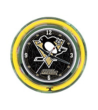 Officially Licensed Pittsburgh Penguins Black Neon Clock