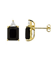 18K Yellow Gold .925 Onyx & White Topaz Earrings