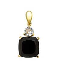 18k Yellow Gold-Over-Sterling Silver, .925 Onyx and White Topaz Pendant