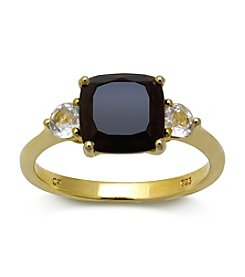 18K Yellow Gold-Over-Sterling Silver, .925 Onyx and White Topaz Ring