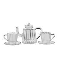 Bon Jour® 42-oz. Oblong Ribbed Teapot with Cup and Saucer Set