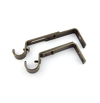 Rod Desyne Adjustable Drapery Rod Bracket Pair - Antique Brass