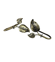 Rod Desyne Decorative Holdbacks with Ivy Finials - Antique Brass
