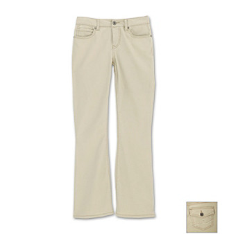 Ruff Hewn Girls' 7-16 Flare-leg Denim Pants - Khaki