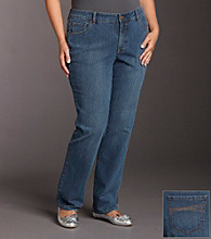 Relativity® Plus Size Absolutely Straight Jeans - Quarry Wash