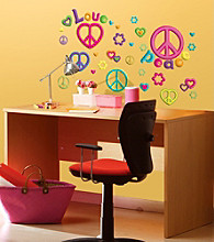 Lot 26 Studio® Glitter Puff Peace & Love Wall Decals