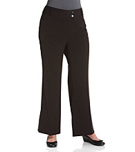 Rafaella® Plus Size Curvy-Fit Bootleg Stretch Black Gabardine Pants